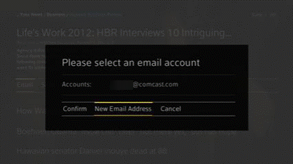 Email account options are displayed