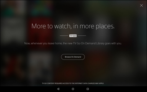 XFINITY TV Go menu with option to browse On Demand