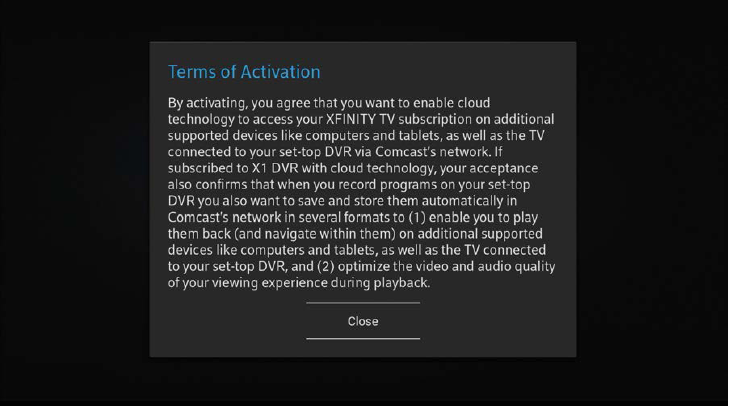 Terms of Activation display