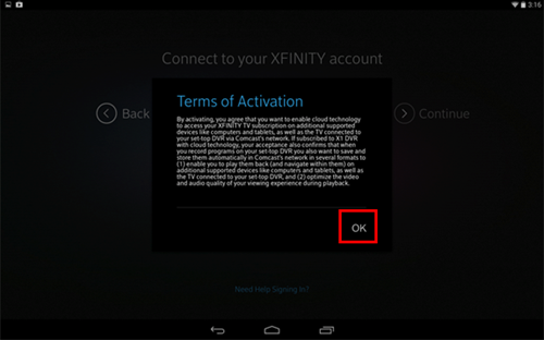 XFINITY TV app sign-in process: terms of activation screen.