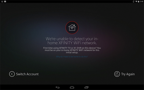 XFINITY TV app sign-in process: unable to detect XFINITY WiFi network.