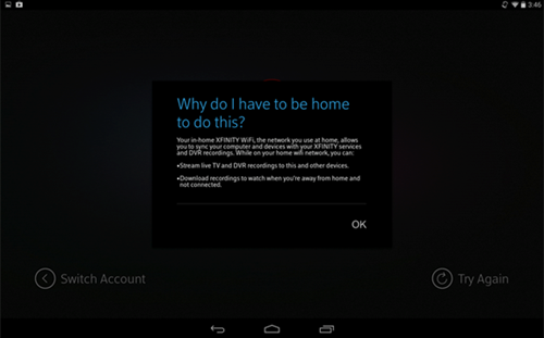 XFINITY TV app sign-in process: unable to detect XFINITY WiFi network explanation.