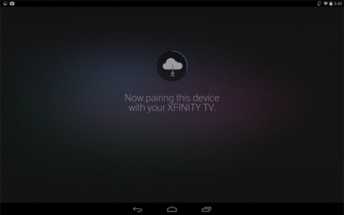 XFINITY TV app sign-in process: Now pairing device with XFINITY TV.