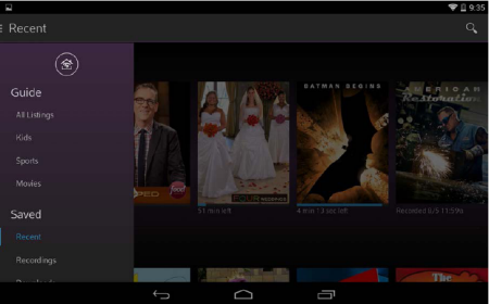 Main Navigation bar displays with the out of home icon showing at the left hand side of the screen