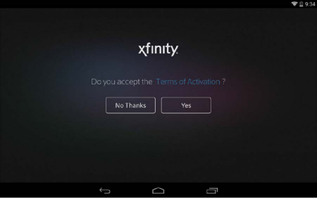Tap Yes on the right hand side of the middle of the screen to accept the terms and conditions.