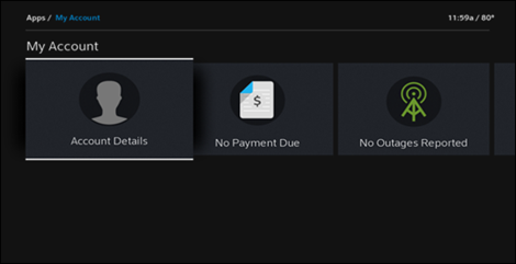"""XFINITY My Account app on X1: Account Details tile selected.  The Billing tile reading """"No Payment Due"""" is to the right of this tile."""