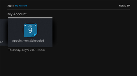 XFINITY My Account app on X1: Appointments tile selected
