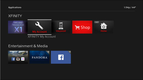 The Applications screen is displayed and XFINITY My Account is selected.
