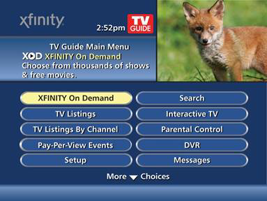 XFINITY On Demand is selected on a menu screen