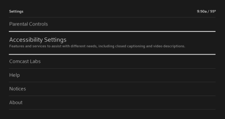 The Accessibility Settings are reached from the left-hand side of the Settings menu, the second item from the top.