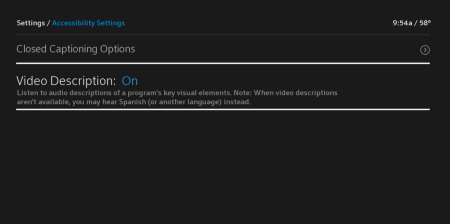 The Video Description option is reached from the left-hand side of the Accessibility Settings menu, the second item from the top.
