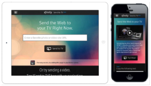 XFINITY TV on the X1 Platform - Send to TV - mobile device examples