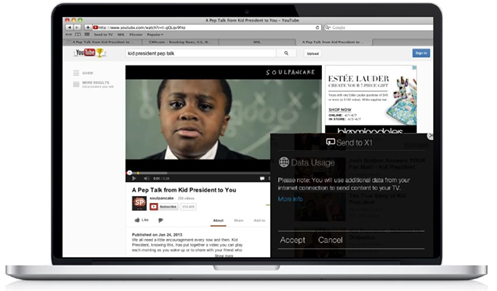 XFINITY TV on the X1 Platform - Send to TV - example from YouTube in a web browser