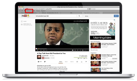 XFINITY TV on the X1 Platform - Send to TV - example from YouTube in a web browser using bookmarklet