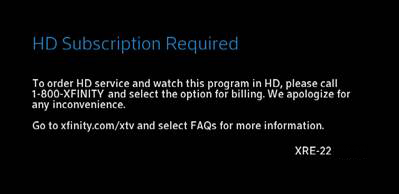 A message states that a high definition subscription is required and that customers may call 1-800-XFINITY for ordering information.