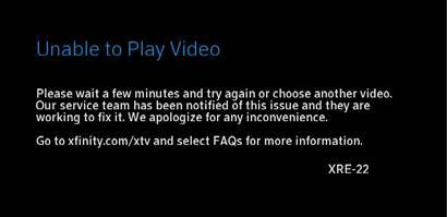A screen message that says unable to play video directs customers to wait a few minutes to try again or choose another video.