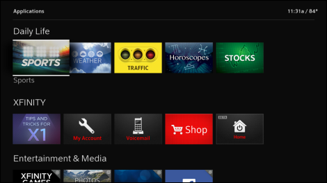 Applications screen displays tiles for various X1 apps.