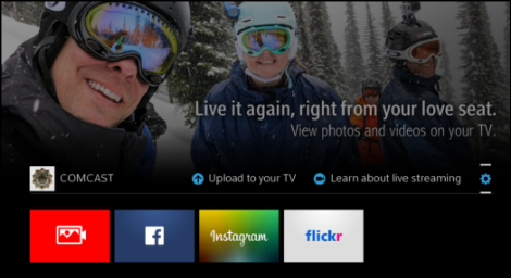 X1 Photos app screen has tiles at the bottom for XFINITY Share, Facebook, Instagram and Twitter