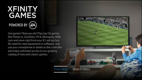 XFINITY Games Powered by EA app screen. Free Beta option is highlighted at bottom.