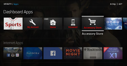 The Accessory Store app displays with a shopping cart icon in the Dashboard Apps.