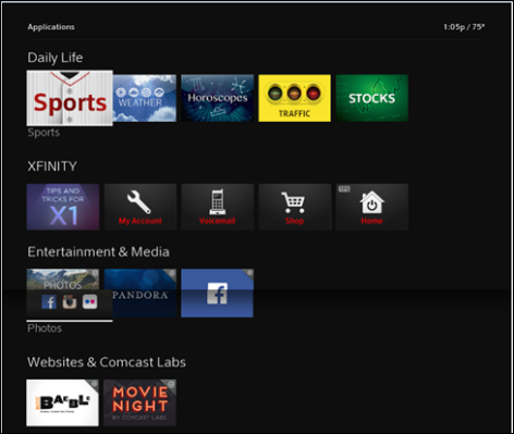 This is an image of the main menu, which has 4 lines of options: Daily Life, XFINITY, Entertainment and Media and Websites and Comcast Labs. The cursor is hovering over Daily Life on an icon reading Sports.