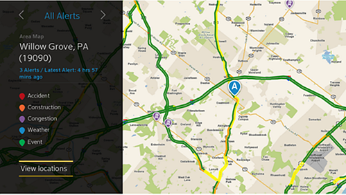 A traffic update is displayed. Beneath the area and zip code is a list of traffic alerts and an alert key to indicate if the incident it an accident, construction, congestion, weather-related, or event-related.  At the bottom-left is the option to choose View Locations.  The right-hand side of the screen shows the traffic map with routes and incidents highlighted.