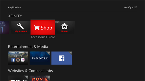 The Applications screen is displayed and the Accessories Store app is selected.