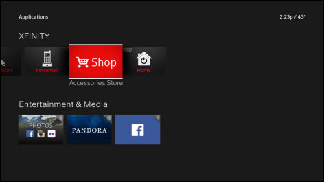 Accesories store tab is in the middle between voicemail and home.  The next row is entitled Entertainment & Media and include choices of photos, Pandora or Facebook.