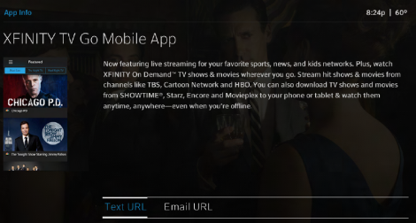 On the App Info page, details about the XFINITY TV Go Mobile app are displayed. The Text URL option is highlighted; the other option is Email URL.