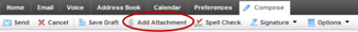 """Xfinity connect email toolbar with """"add attachment"""" circled"""