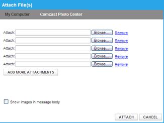 Attach files screen