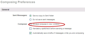 "composing preferences page - with ""Always compose in a new window"" option circled"