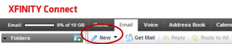 "Xfinity connect - Email tab - ""New"" dropdown menu."