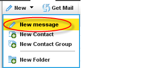 """New"" dropdown with ""new message"" highlighted"