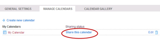 Manage Calendars Window - Prompt to Share this calendar Link