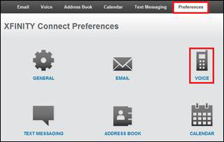 Voice is selected from the options featured on the XFINITY Connect Preferences tab