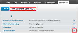 Features available on the Voice Preferences screen are displayed