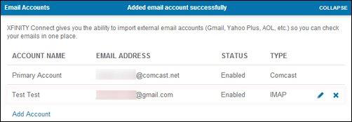 The Account Name of the added email account will appear under the primary email, with the email address, status and type listed to the right