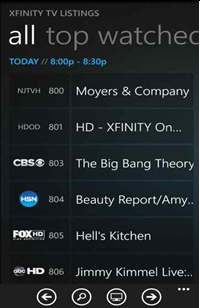 The XFINITY TV Remote app on a Windows 8 phone: TV Listings