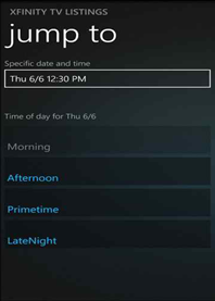 The XFINITY TV Remote app on a Windows 8 phone: Future Programs screen