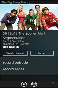 The XFINITY TV Remote app on a Windows 8 phone: TV Program selected