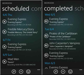 The XFINITY TV Remote app on a Windows 8 phone: Scheduled and Completed screens