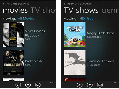 The XFINITY TV Remote app on a Windows 8 phone: XFINITY On Demand screen