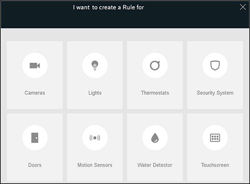 The Create a Rule page lists all available devices.