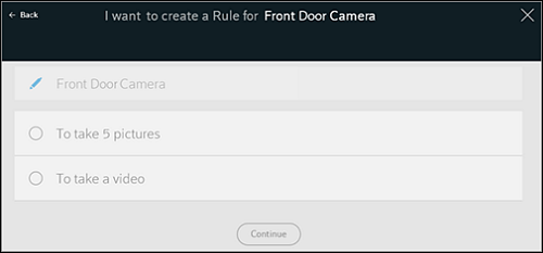 "Create a Rule page with device selected and available ""action"" options below it. ""Continue"" button is at the bottom of the page."