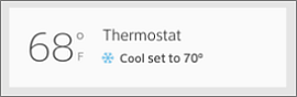 Overview screen with Thermostat temperature at left.