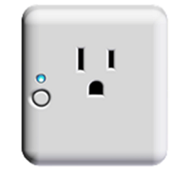 Front of Outlet Controller with blue LED light on.
