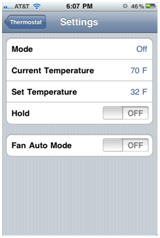 "thermostat settings screen with ""fan auto mode"" option illustrated"