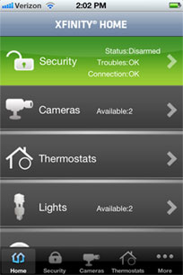 xfinity home screen with options for security, cameras, thermostats and lights
