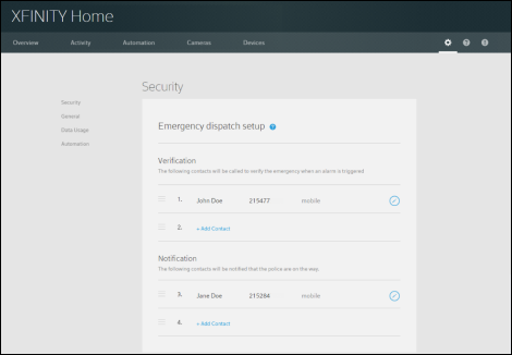 XFINITY Home Subscriber Portal Security lists options for who should be contacted in case of emergency